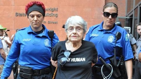 Hedy Epstein is arrested in downtown St. Louis.