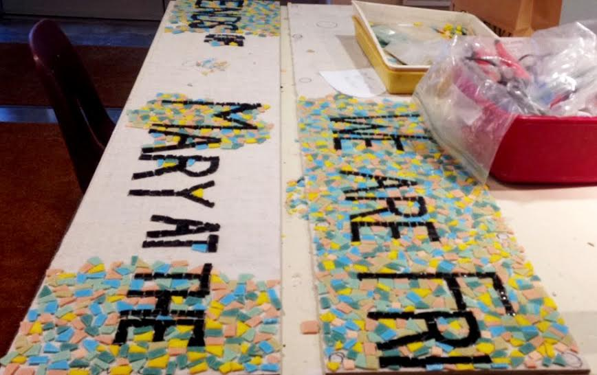 The mosaic piece in progress in the art room.
