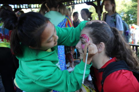 face painting during Spirit Week