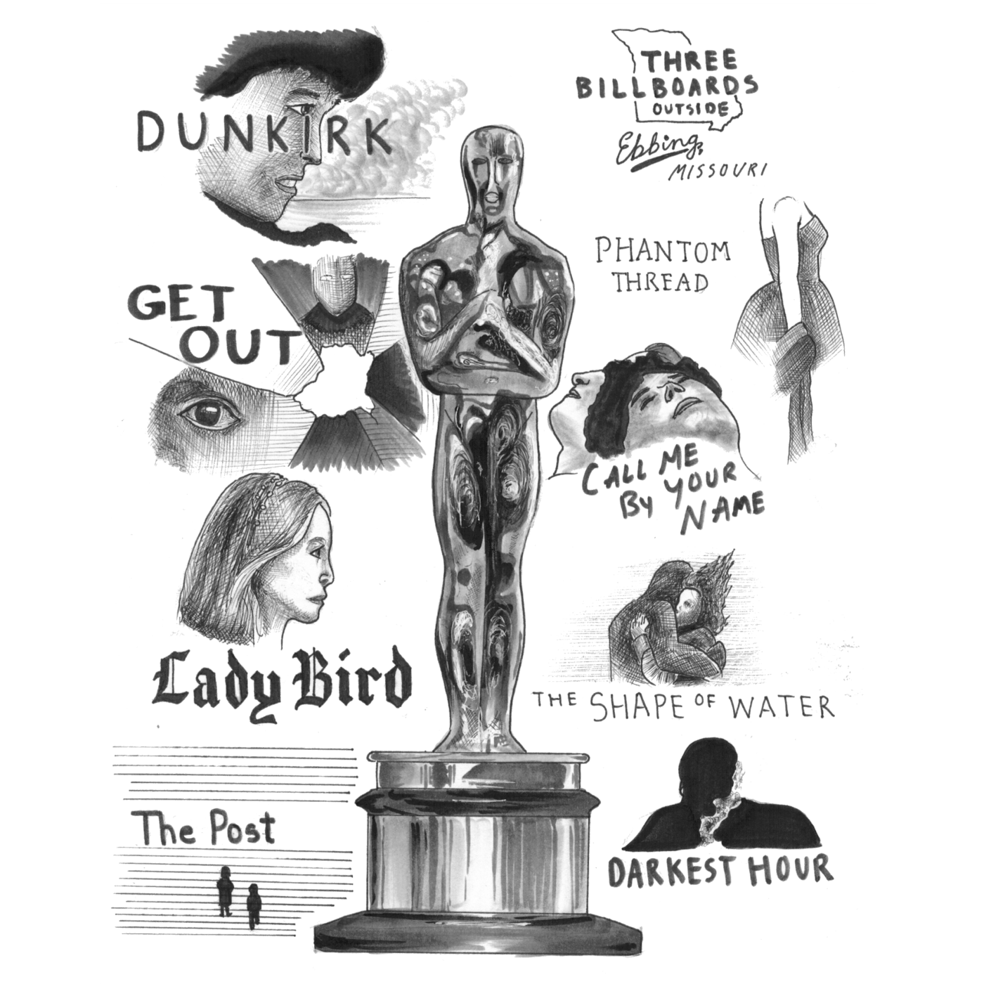 Graphic by  John Liang via The Tower (https://thetowerphs.com/2018/02/arts-and-entertainment/the-oscars-2018-who-will-take-the-win/)